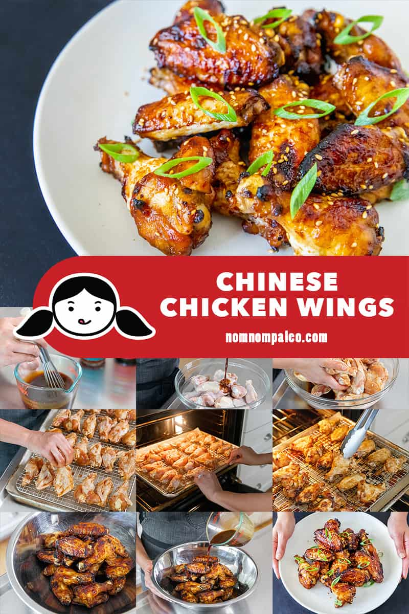 A collage of the cooking steps to make Whole30-friendly Chinese Chicken Wings.