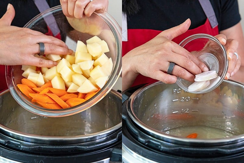 Adding potatoes, carrots, and shallots into an Instant Pot to make paleo Instant Pot Asian soup