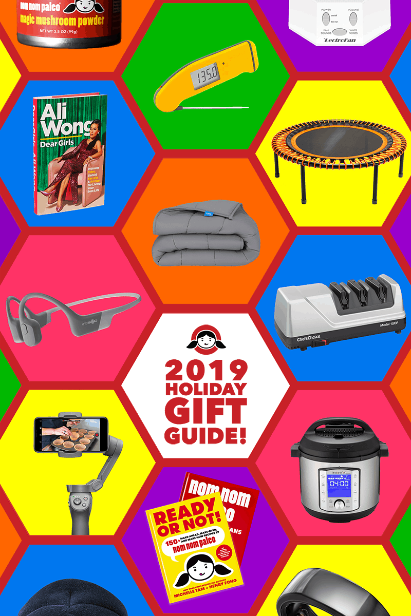 A collage of holiday gift ideas from Nom Nom Paleo. It includes electronics, kitchen gear, cookbooks, exercise gear, and more.