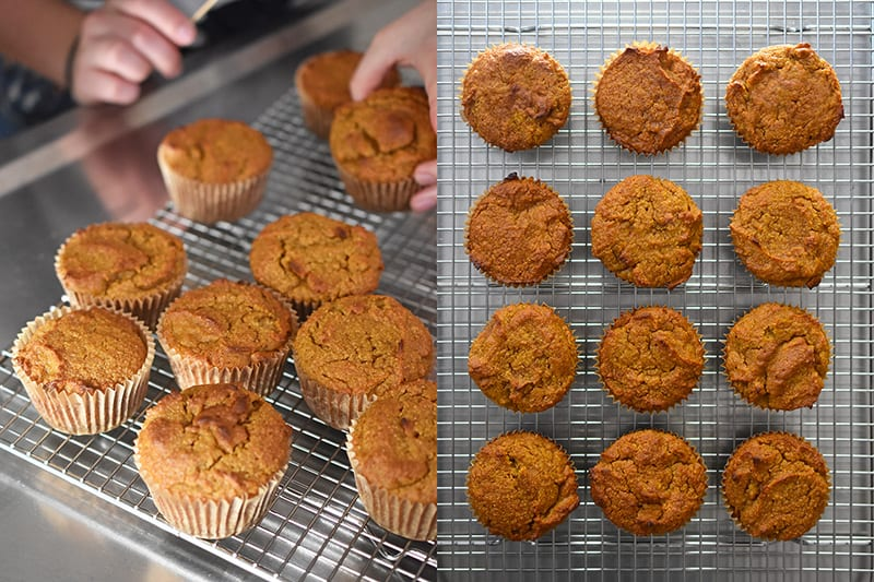 A shot of the cooked paleo pumpkin muffins on a cooling rack.