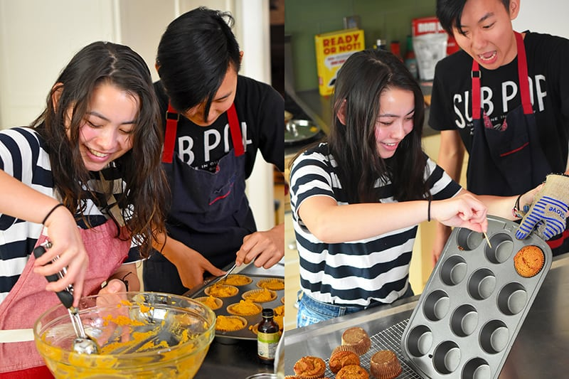 A teenage girl and boy are scooping paleo pumpkin muffin batter into the muffin tins and the next picture has them transferring the cooked muffins to a cooling rack.