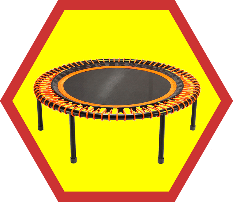 A Bellicon 44-inch classic rebounder with orange bungee cords, a pick from Nom Nom Paleo's 2019 holiday gift guide!