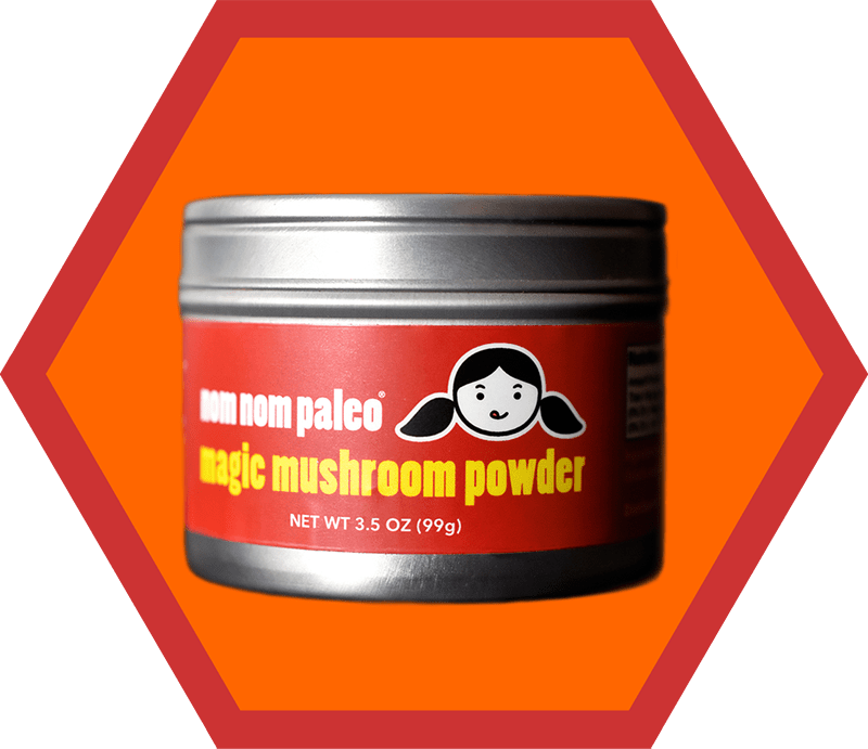 A front shot of a tin of Magic Mushroom Powder, an item on Nom Nom Paleo's 2019 holiday gift guide