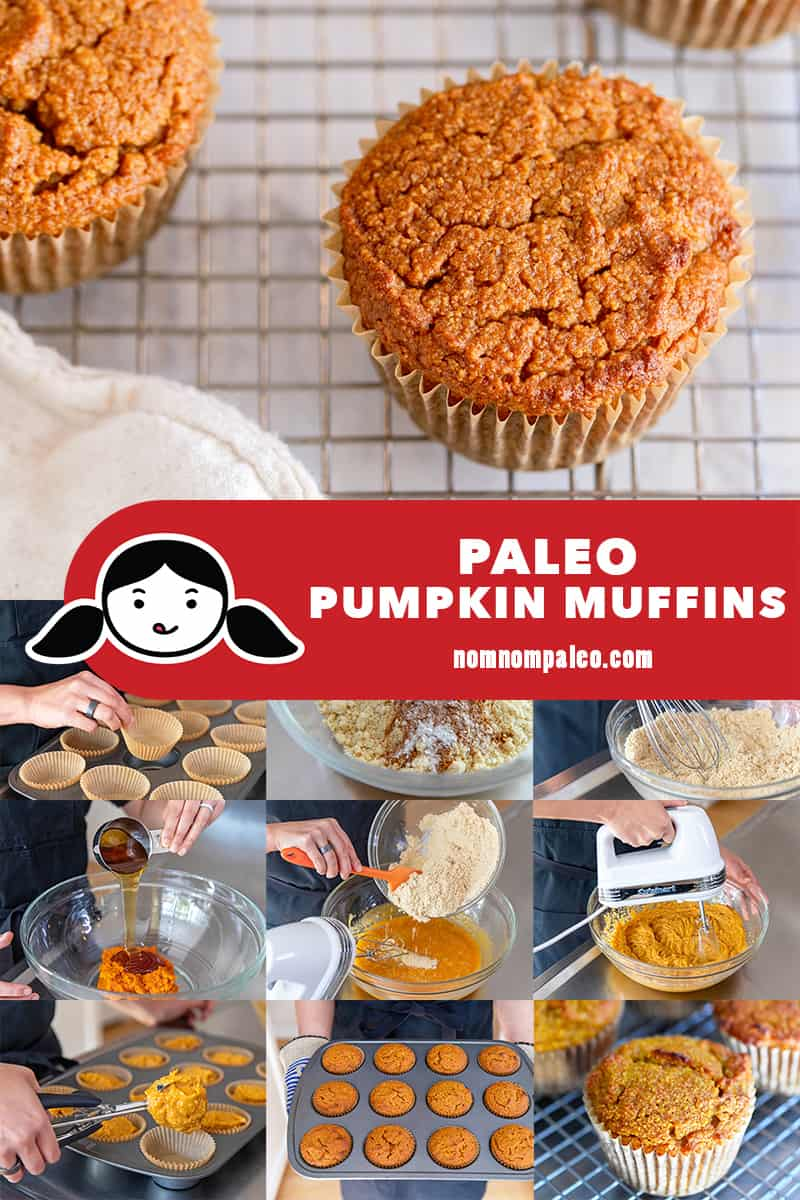 A collage of the cooking steps to make easy and healthy paleo pumpkin almond flour muffins