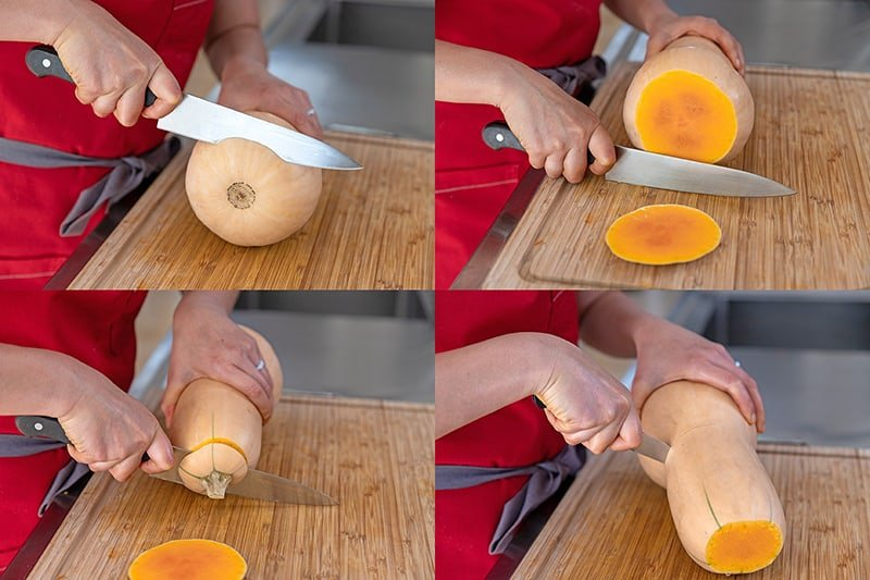 A four-picture shot of someone cutting a butternut squash. Cut the two ends off with a chef's knife and then use a paring knife to cut it in half crosswise.