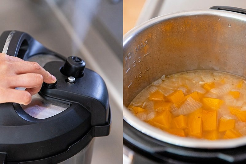 Someone releasing the pressure manually from an Instant Pot. An overhead shot of Instant Pot butternut soup before it is blended.