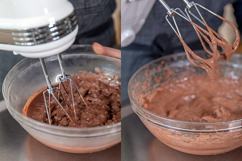 A hand mixer is transforming the paleo chocolate pudding from a chunky gel into a smooth and creamy pudding.