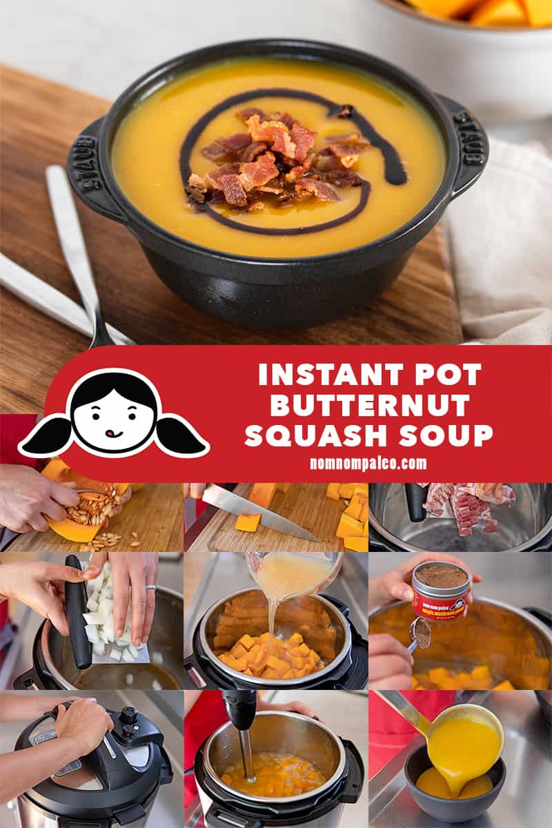 A collage of the cooking steps to make Whole30 and paleo Instant pot butternut squash soup.