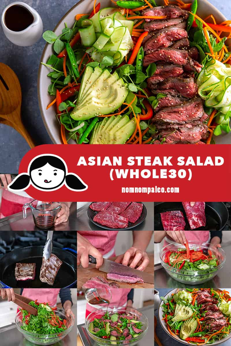 A collage of the steps to make Whole30 Asian Steak Salad.