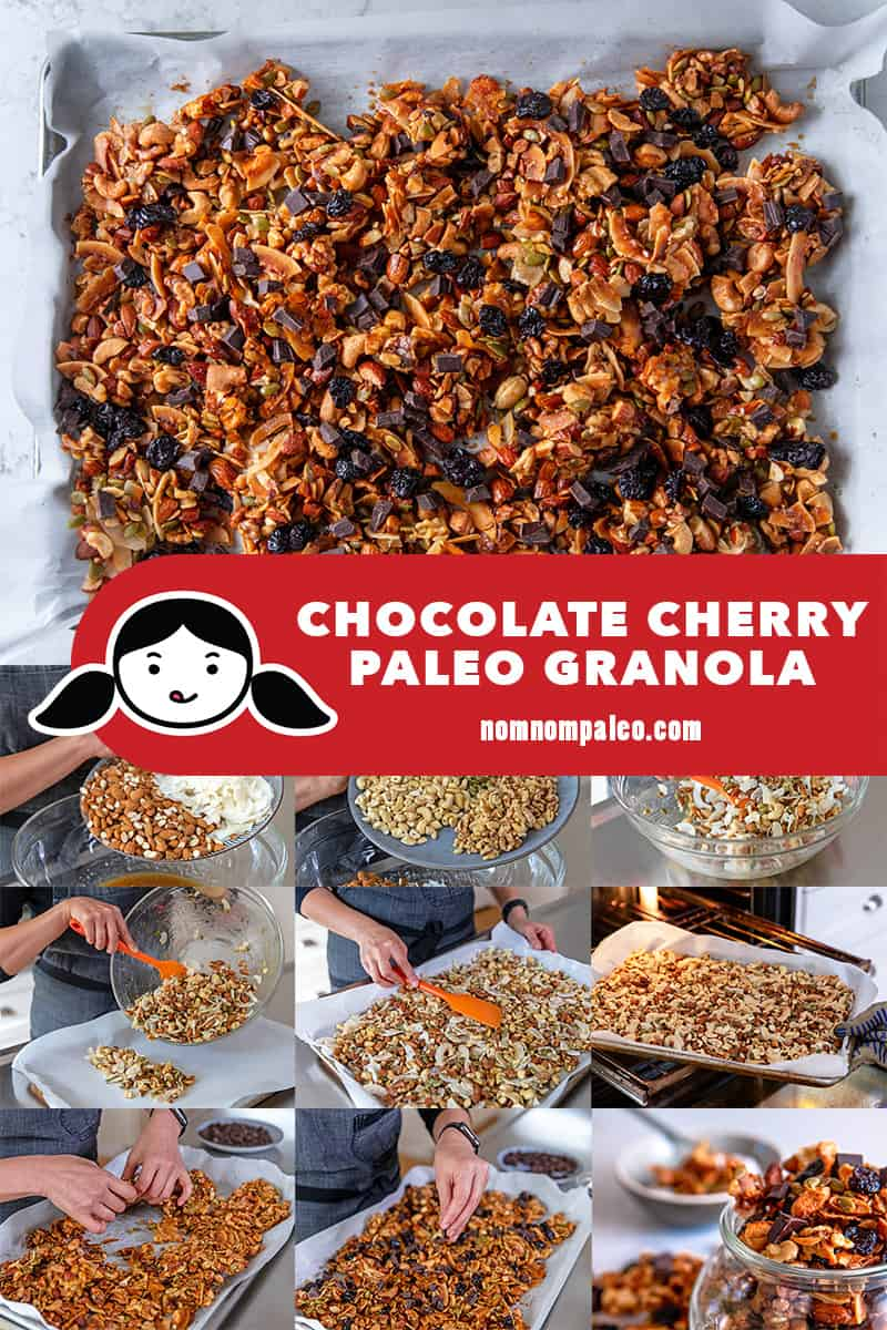 A collage of the cooking steps to make chocolate cherry paleo granola.