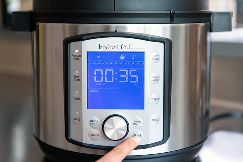 "The front display of a 6-quart Instant Pot Duo Evo Plus says ""00:35"""