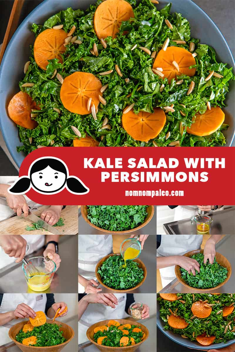 A collage of the cooking steps to make Kale Salad with Persimmons, a Whole30, paleo, and vegan salad.