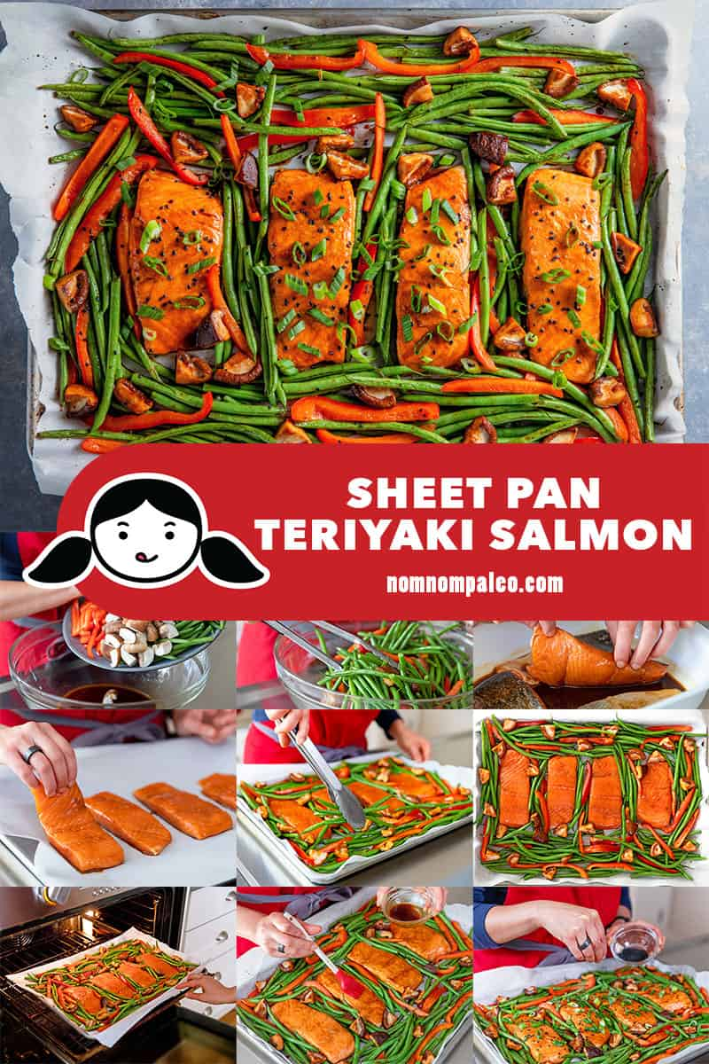 A collage of the cooking steps to make healthy sheet pan teriyaki salmon