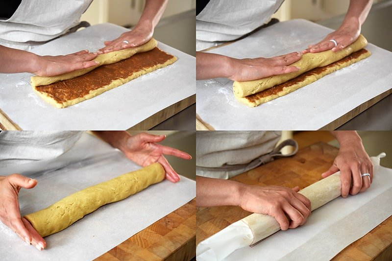 A four photo collage of the steps showing someone rolling up the paleo and gluten-free cinnamon roll dough into a long cylinder.