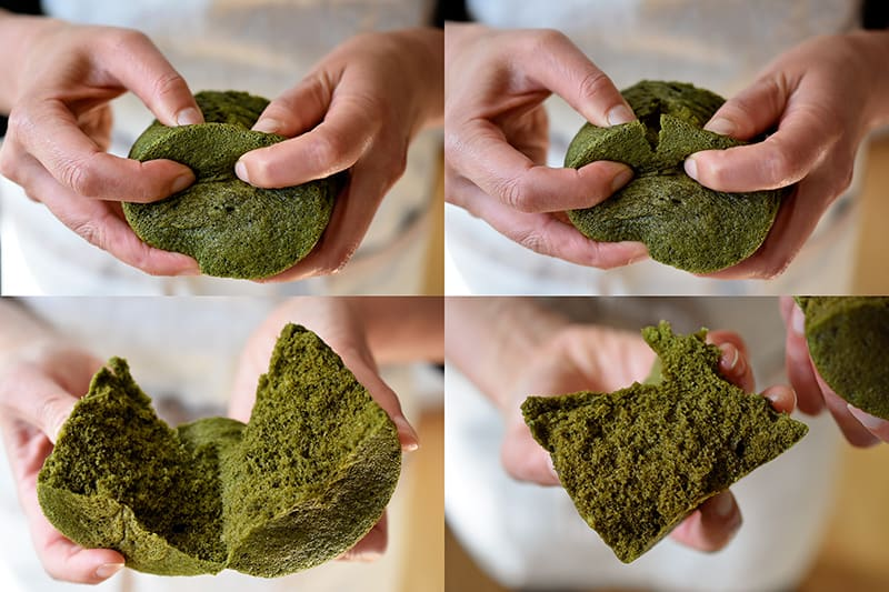 Four pictures of someone splitting a matcha mug cake in half with her hands and showing the green sponge cake texture.