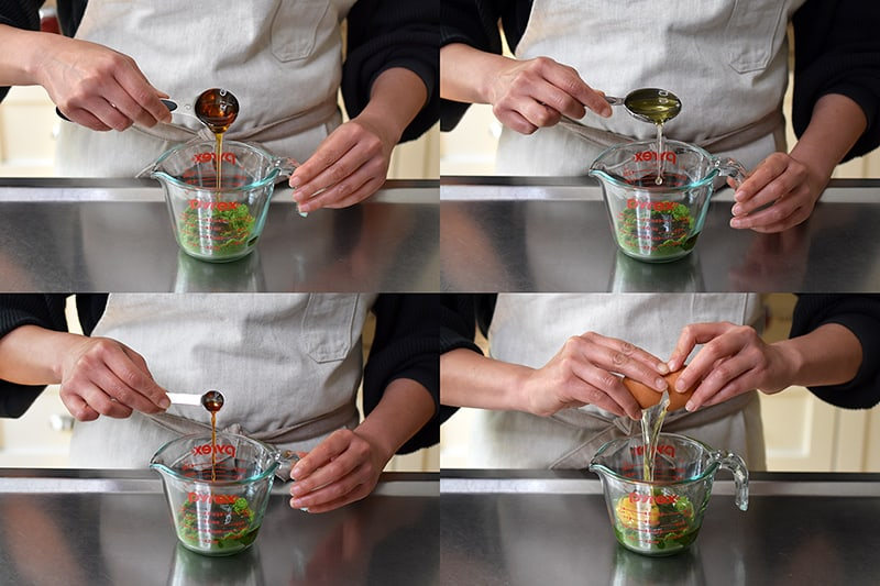 Four photos that show someone adding the liquid ingredients for gluten-free matcha mug cake in a measuring cup.