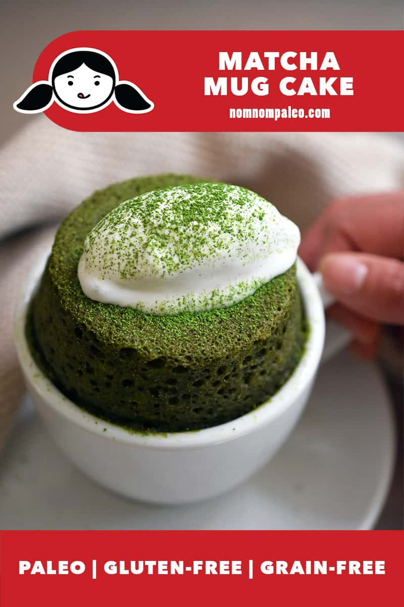 A closeup of a paleo and gluten-free matcha mug cake in a white coffee mug topped with dairy-free coconut whipped cream. A red banner says paleo, gluten-free, and grain-free.