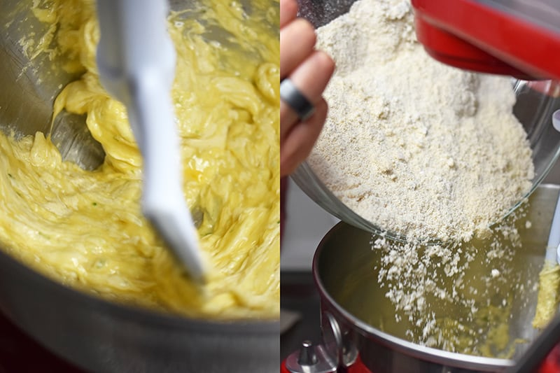 On the left is the wet ingredients in the stand mixer. On the right, someone is adding half the dry ingredients to the wet ingredients in the mixer.