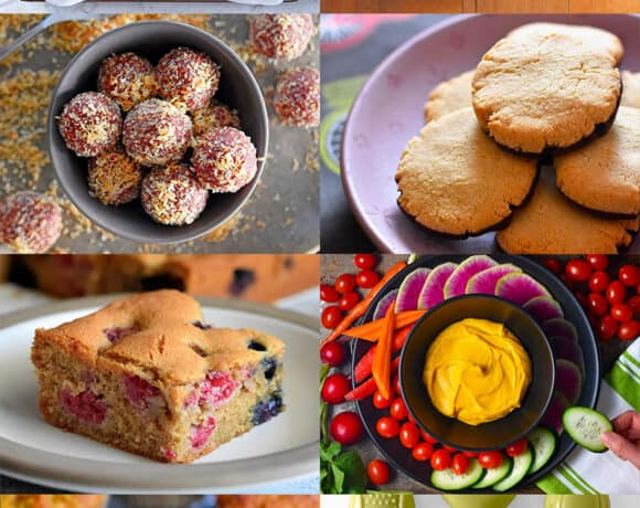 A collage of gluten-free and paleo healthy snacks, both sweet and savory.