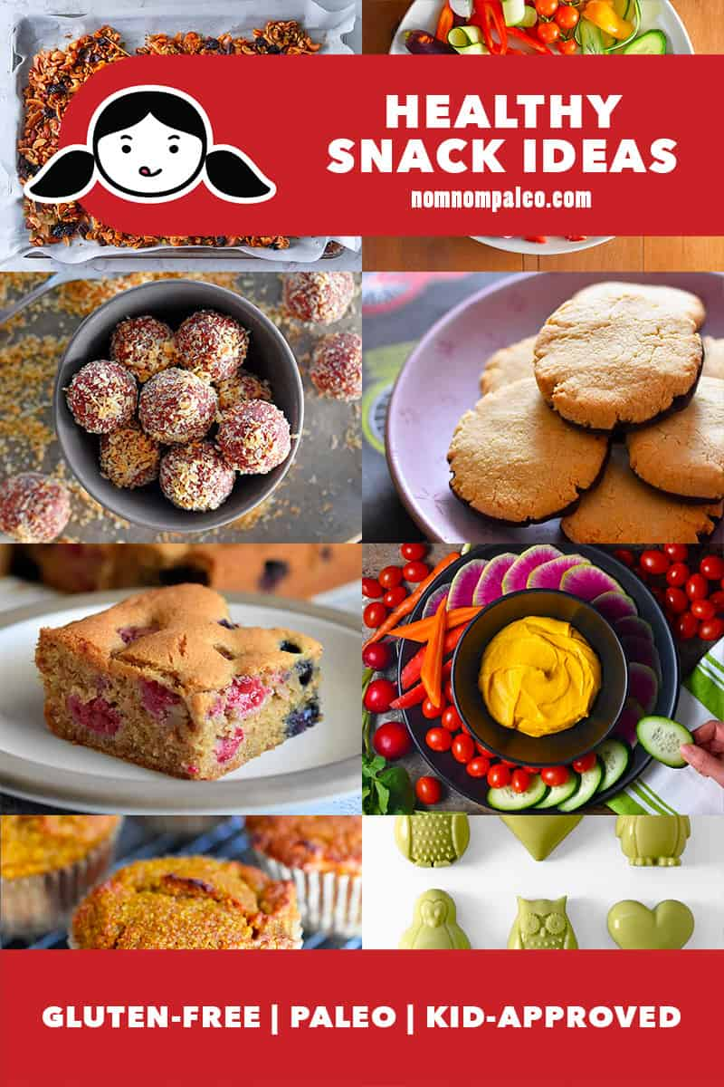 A collage of healthy snack ideas from Nom Nom Paleo. All are gluten-free and kid-approved.