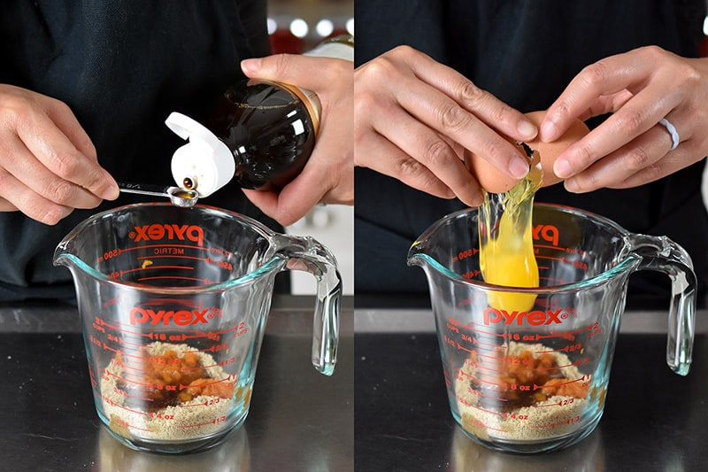 Two shots of someone adding vanilla extract and an egg to the liquid measuring cup filled with the ingredients for paleo and gluten-free pumpkin mug cake.