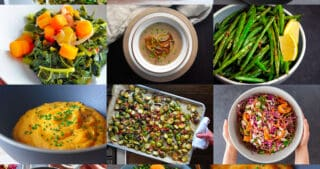 A collage of Paleo and Whole30 Thanksgiving side dishes from Nom Nom Paleo.