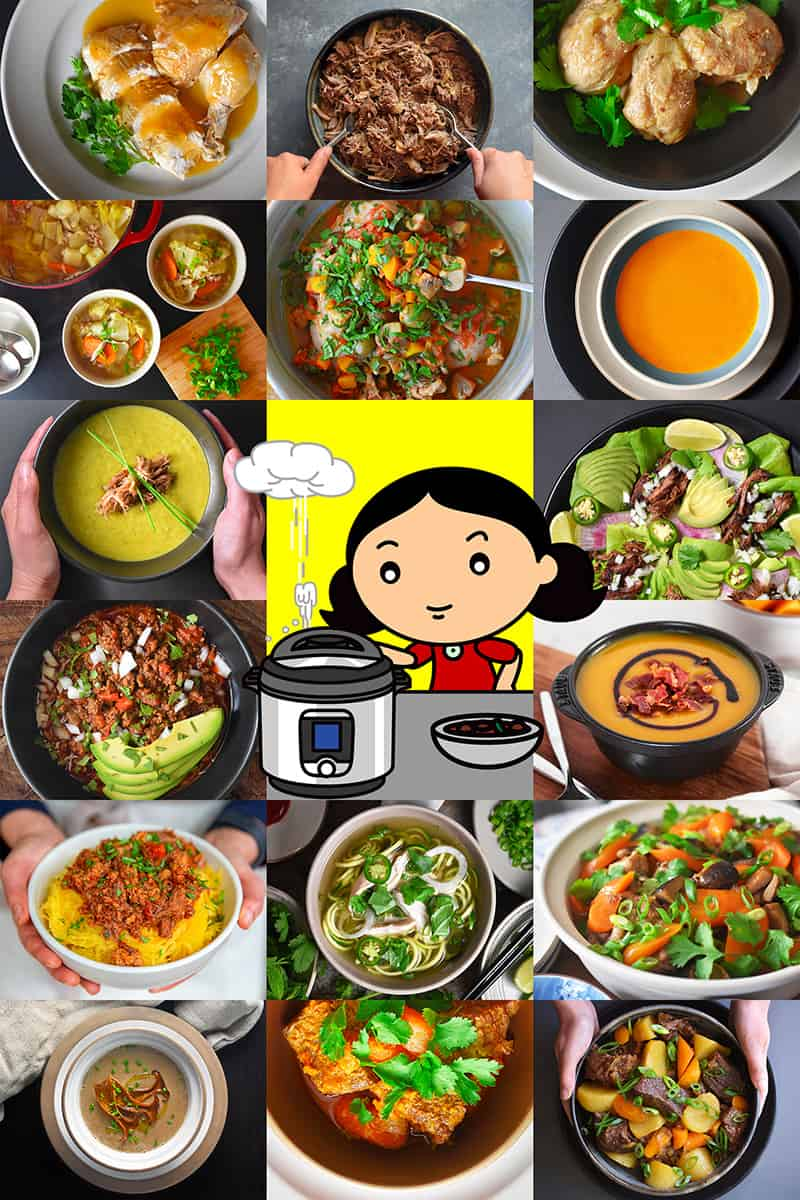 A collage of 20 Whole30 Instant Pot recipes from Nom Nom Paleo. There is a cartoon of brunette woman depressurizing an Instant Pot in the middle of the collage.