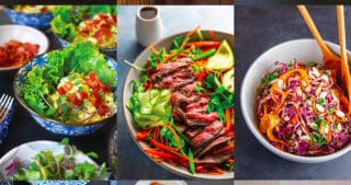 A collage of nine Nom Nom Paleo Whole30 salads