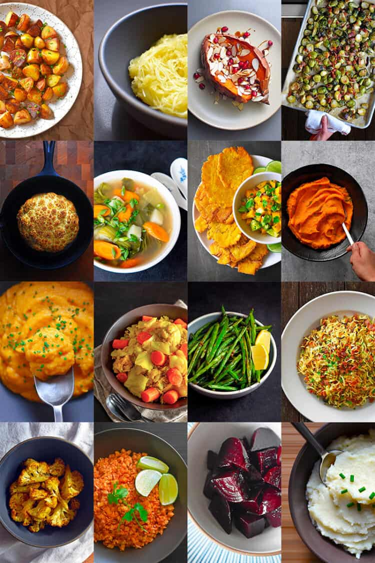 A collage of 16 Nom Nom paleo Whole30 Side dishes in a grid