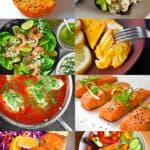 A collage of 8 Nom Nom Paleo recipes that are Whole30 compatible seafood recipes. There is a picture of crab cakes, California roll, tandoori fish, teriyaki salmon, tonnato sauce, crab cakes, cod in tomato sauce, and shrimp tacos.
