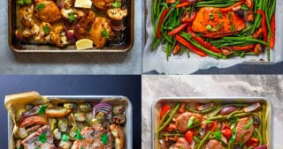 An overhead shot of four Nom Nom Paleo Easy Whole30 Sheet Pan Meals.