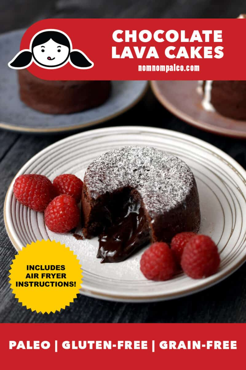 "A shot of a white plate with a paleo chocolate lava cake with a bite taken out, exposing the gooey chocolate center. The plate has 2 small piles of raspberries next to the cake. There is a gold medal that says ""Includes air fryer instructions"". A red banner at the bottom says Paleo, Gluten-free, and Grain- free."
