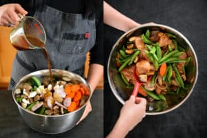 Pouring the stir-fry sauce into a large metal bowl filled with cubed raw chicken breast and vegetables and stirring well.